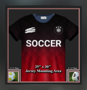 """Sports Jersey Frame with 2-  4"""" x 4"""" Square Photo Windows"""