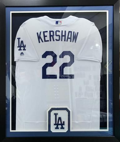 Autographed Kershaw Baseball Jersey Display Frame