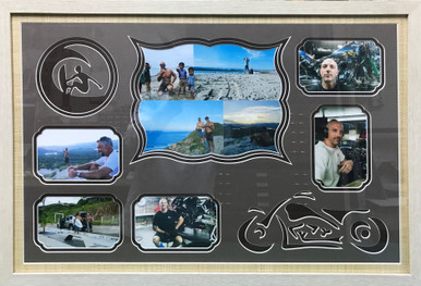 Brothers Photo Frame with Surfer and Motorcycle Designs