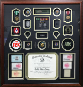 Army Infantry Shadow Box Display w/ Retirement Certificate