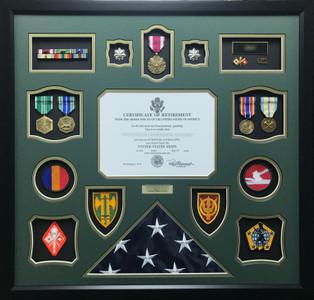 Army LTC Shadow Box Display Frame with Flag