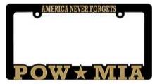 License Plate Frame- America Never Forgets POW MIA