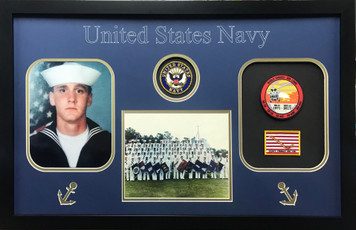 US Navy Photo Frame with Patches