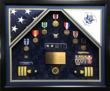 US Coast Guard Double Flag Open Shadow Box Display