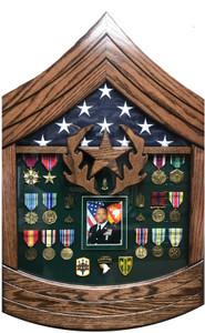 Command Sergeant Major Rank Shaped Shadow Box Display