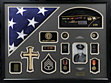 United States Army WWII Shadow Box Display w/ Burial Flag