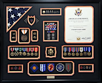 U.S. Army Retirement Triple Matted Shadow Box Display w/ Certificate and Flag