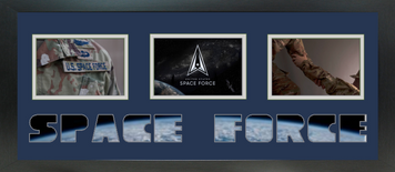 """10"""" x 24"""" United States Space Force Triple Photo Frame w/ Photo Font"""