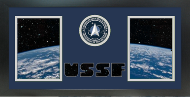 """10"""" x 20"""" United States Space Force Double Photo Frame w/ Seal"""