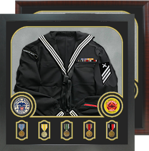 """29"""" x 32"""" Uniform Shadow Box Display holds 5 Medals and 2 Patches"""