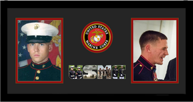 "10"" x 20"" United States Marines Corps Double Photo Frame w/ Seal"