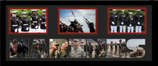 "10"" x 24"" United States Marine Corps Triple Photo Frame w/ Photo Font"