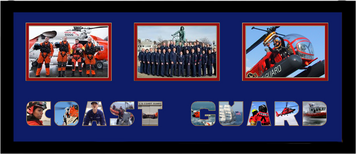 "10"" x 24"" United States Coast Guard Triple Photo Frame w/ Photo Font"