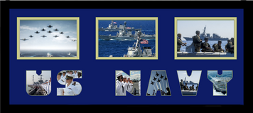 "10"" x 24"" United States Navy Triple Photo Frame w/ Photo Font"