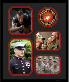 """11"""" x 14"""" United States Marine Corps 4 Photo Collage w/ Seal-Vertical"""