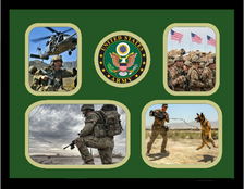 "11"" x 14"" United States Army 4 Photo Collage w/ Seal-Horizontal"