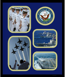 """11"""" x 14"""" United States Navy 4 Photo Collage w/ Seal-Vertical"""