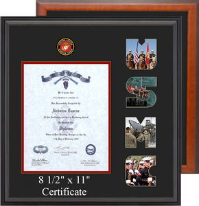 "15"" x 16"" Marine Corps Certificate Photo Font Frame"