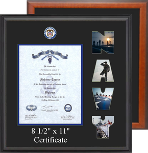"15"" x 16"" Navy Certificate Photo Font Frame"