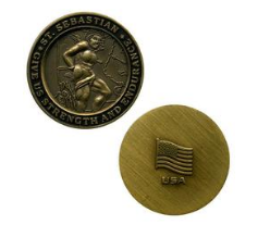 Saint Sebastian Bronze Medallion Challenge Coin