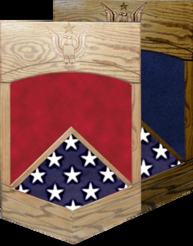 US Navy E-8 Senior Chief Petty Officer Shadow Box w/ Flag Window