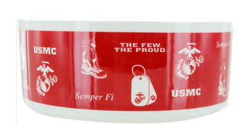 Pet Bowl -  Ceramic w/ US Marine Corps Collage