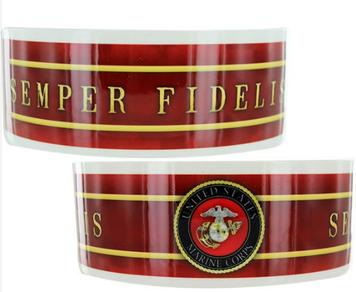 Pet Bowl -  Ceramic w/ US Marine Corps Semper Fidelis