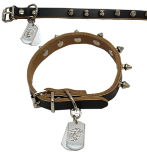 Pet Insignia- Small Spiked Leather Collar w/ Eagle, Anchor and Globe