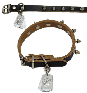 Pet Insignia- Medium Spiked Leather Collar w/ Eagle, Anchor and Globe