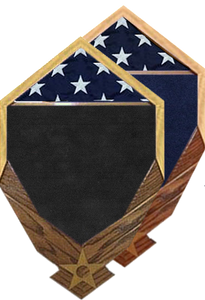 US Flag over Air Force Logo Shadow Box w/ Flag Window