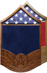 US Air Force All Stripe E-7 MSgt Shadow Box w/ Flag Window