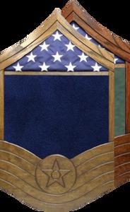 US Air Force All Stripe E-8 SMSgt Shadow Box w/ Flag Window