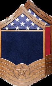 US Air Force All Stripe E-9 CMSgt Shadow Box w/ Flag Window