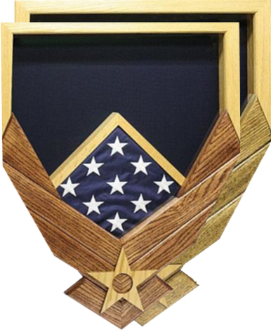 Air Force Logo over Natural Frame w/ Flag Window