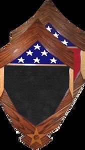 CMSgt Stripes over Air Force Logo Shadow Box w/ 3' x 5' Flag Window