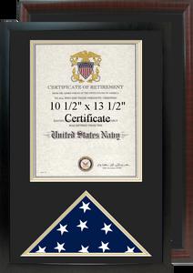 "16"" x 24"" Retirement Certificate Frame w/ Flag Shadow Box"