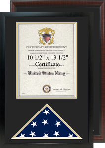 "16"" x 24"" Retirement Certificate Frame w/ Flag Shadow Box"