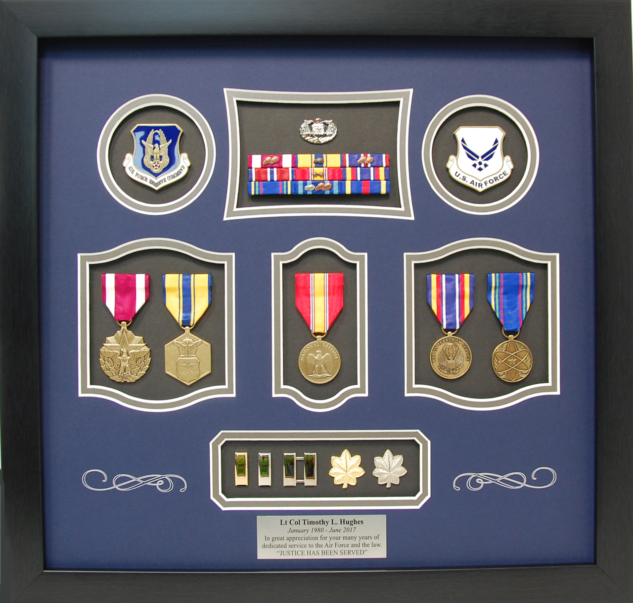 Us Air Force Lt Colonel Shadow Box Display Military