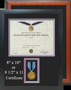 Humanitarian Service Medal Certificate Frame