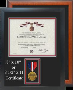 Kosovo Campaign Medal Certificate Frame
