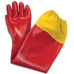 Orange PVC Shoulder Length Gloves