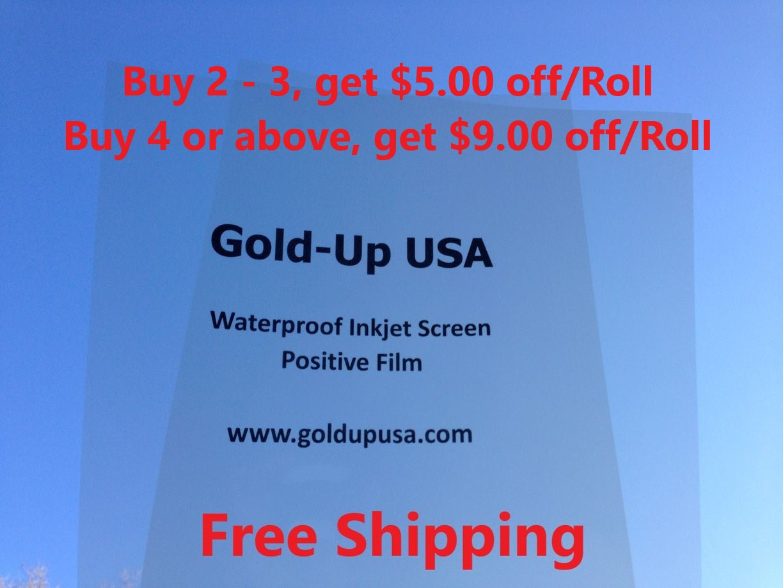 "WaterProof Inkjet Screen Printing Film 13/"" x 100/' 4 Rolls"