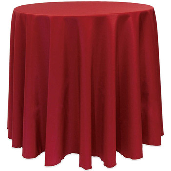 Cherry Red Poly Round Cloth Tablecloths