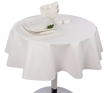 Round Vinyl Tablecloth White