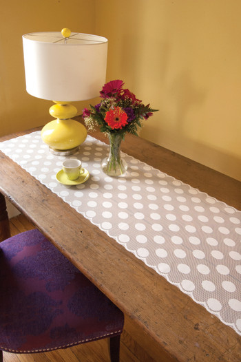 White Polka Dot Table Runner