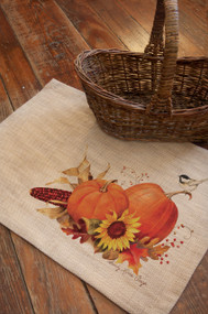 Harvest Pumpkin Burlap Autumn Placemats