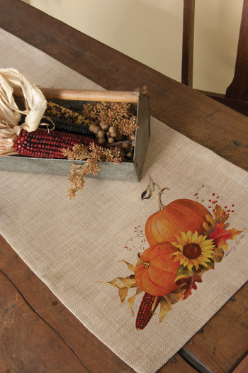 Harvest Pumpkin Burlap Table Runners