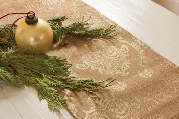 Damask Burlap Table Runners Gold