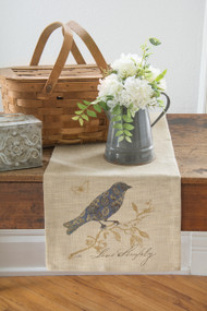 Meadow Song Burlap and Bird Table Runner