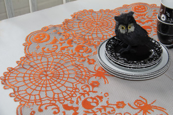 Frightful Orange Round Halloween Table Topper